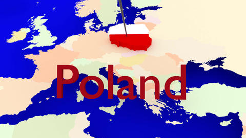 Worldmap Zooms To Poland stock footage