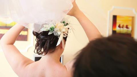Bride hold veil Footage