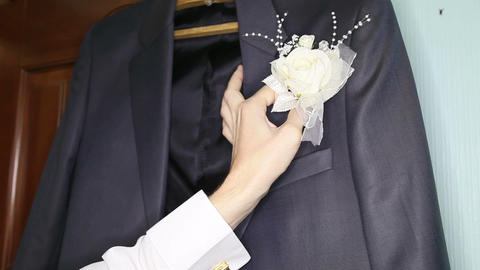 groom white boutonniere Footage