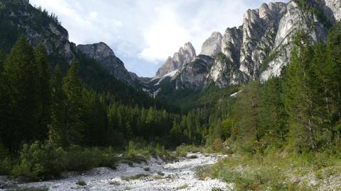 4k UHD pan tilt dolomite alps valley refuge 11546 Footage