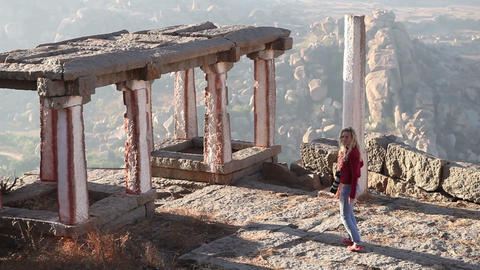 viewpoint in mountains Hampi Footage