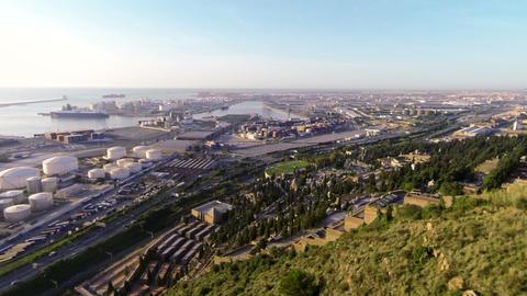 Aerial Drone Barcelona Industrial Port Footage