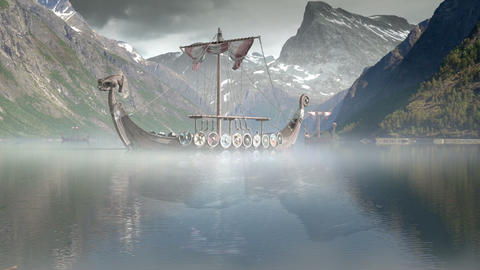 Viking Ships on nordic sea, Epic FullHD, VisualFX Footage