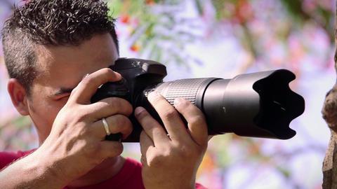 2of 6 Man taking photo , amateur photographer shoo Footage