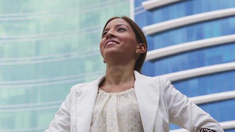 1of 6 Proud Businesswoman Walking Outside Office stock footage