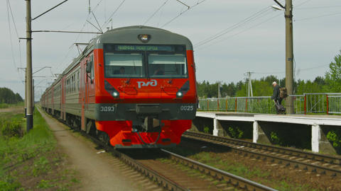 ALESHINO. RUSSIA - CIRCA MAY 2014: Commuter train Footage