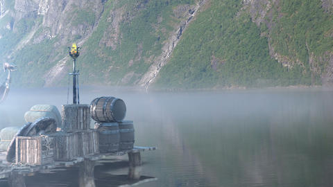 Viking Longboat At A Pier On A Fjord In Norway Filmmaterial