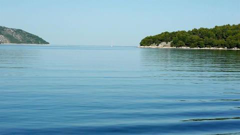 Sailing at blue sea at morning Footage