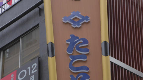 high to low tilt of Dotonbori hotel sign Footage