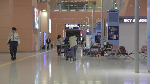 Woman Pushes Cart - Terminal One Osaka Kansai Airp stock footage