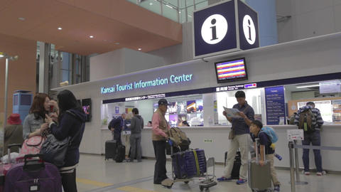 Osaka Kansai Airport Inside Terminal 1 - Tourist I stock footage