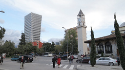 Clock Tower Of Tirana And Et'hem Bey Mosque stock footage