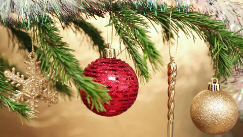 Christmas Holiday Toys On Fir Tree Twig And Wood B stock footage