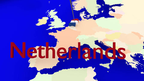 Worldmap Zooms to the Netherlands Animation