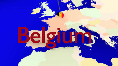 Worldmap Zooms To Belgium stock footage
