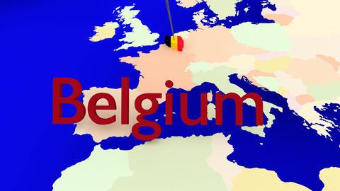 Worldmap Zooms To Belgium stock footage