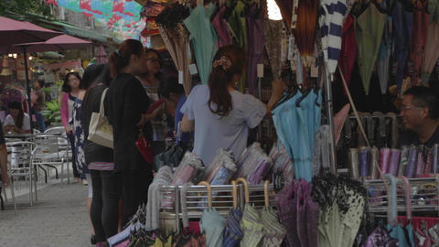 an outdoor umbrella stand at a market in Taipei Footage
