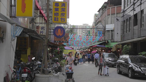 main road leading into siping market Taipei Footage