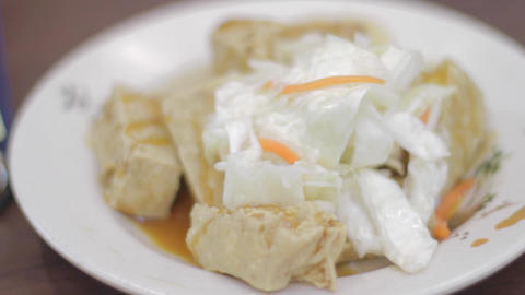 shallow depth of field - taiwan food tofu, noodles Footage