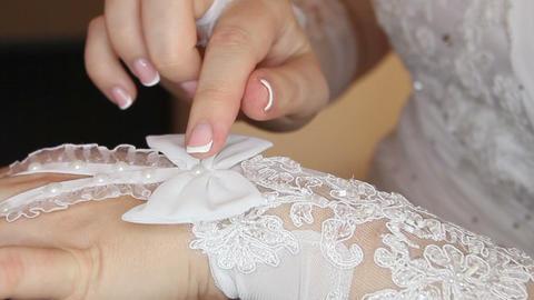 Bride Straightens Glove stock footage