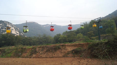 China Songshan Mointains 28 Cableway stock footage