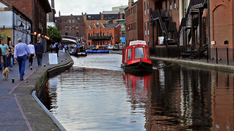 Water Bus Flowing On The Birmingham Canal stock footage
