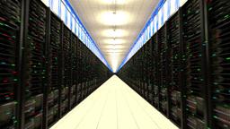 Data center servers endless corridor loop centre 2 Animation