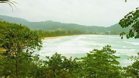 Kamala Beach on a cloudy day. Thailand. Phuket Isl Footage