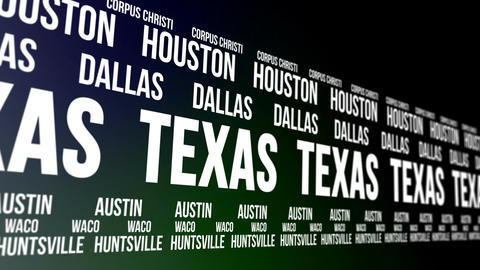 Texas State and Major Cities Scrolling Banner Animation
