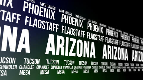 Arizona State and Major Cities Scrolling Banner Animation