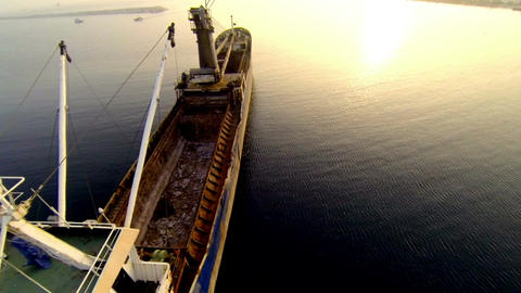 Low flying over general cargo ship Footage