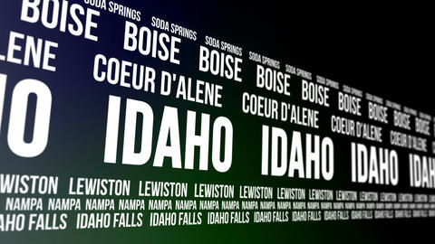Idaho State and Major Cities Scrolling Banner Animation