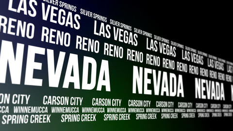 Nevada State and Major Cities Scrolling Banner Animation