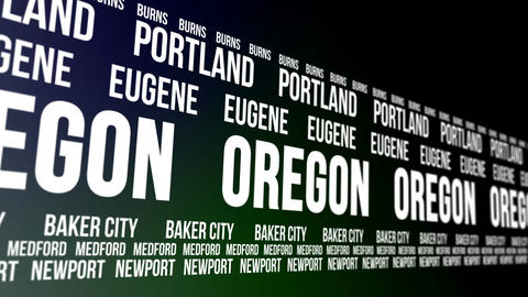 Oregon State and Major Cities Scrolling Banner Animation