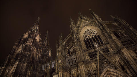 Cathedral in Cologne with clouds and sky at night, Live Action