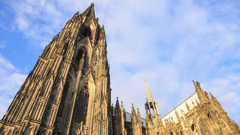 Cathedral in Cologne with clouds and sky, Germany, Footage