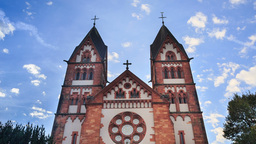 St. Lutwinus Church In Mettlach, Germany, Timelaps stock footage
