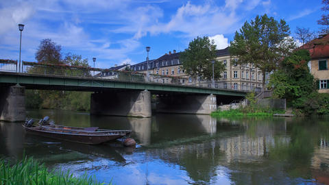 River and vintage boats in Bamberg, Germany, timel Footage