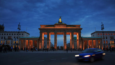 Brandenburg gates in Berlin with crowd and urban t Footage