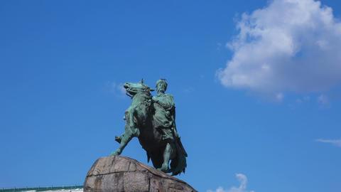 Statue Of Ukrainian Hetman Bohdan Khmelnitsky, Tim stock footage