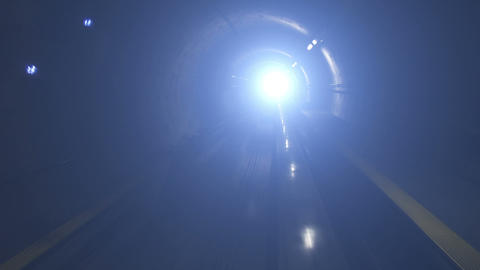 Moving train in subway tunnel, cabin view Footage