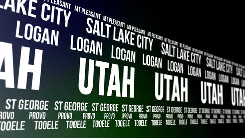 Utah State and Major Cities Scrolling Banner Animation