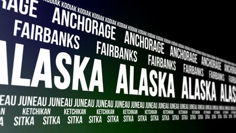 Alaska State and Major Cities Scrolling Banner Animation