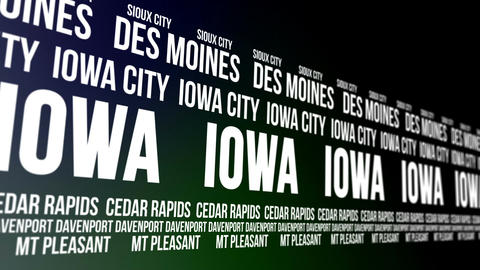 Iowa State and Major Cities Scrolling Banner Animation