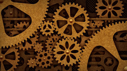 Steampunk Mechanism With Gears stock footage