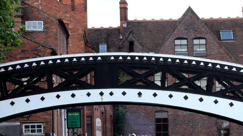 Stylish Footbridge stock footage