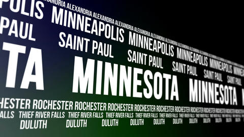 Minnesota State and Major Cities Scrolling Banner Animation