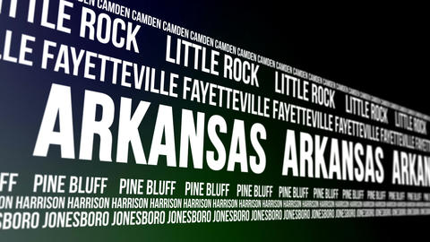 Arkansas State and Major Cities Scrolling Banner Animation