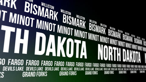 North Dakota State and Major Cities Scrolling Bann Animation