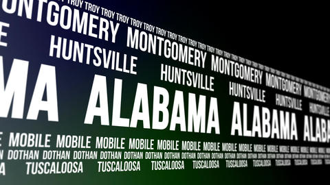 Alabama State and Major Cities Scrolling Banner Animation